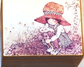 """Melancholy Music Box, Vintage, with Girl & Flowers Print, plays """"Raindrops Keep Falling on My Head"""""""