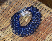 Chainmaille Cuff Bracelet, Dragon Scale, Blue & Silver, Aluminum