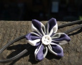 Modern Fabric Flower Headband - Caroline Style (gray/purple)