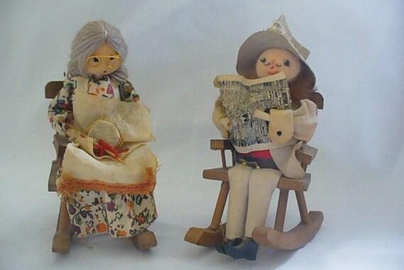 Handmade grandma and grandpa in rocking chairs