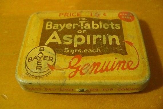 Bayer Tablets Aspirin Tin, Metal Box