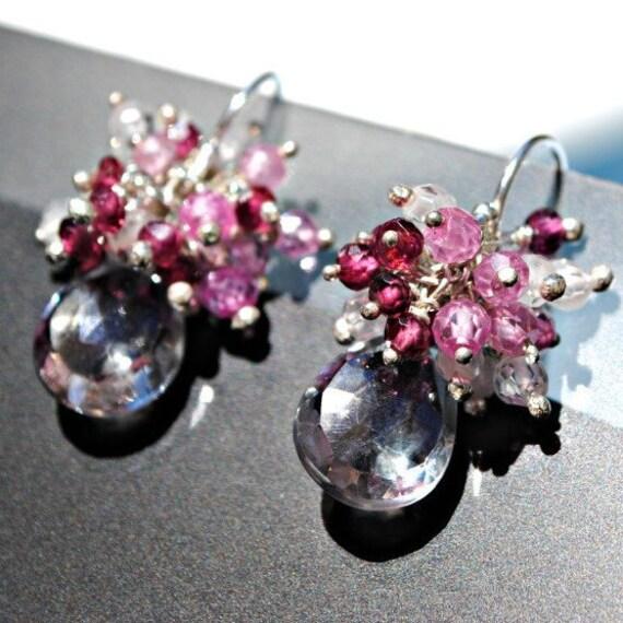 ONE OF A KIND - Serene Earrings - Sterling silver, Mystic quartz, Zircon, Rhodolite