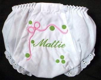 Ribbon and Dots Personalized Baby Bloomers/Diaper Covers