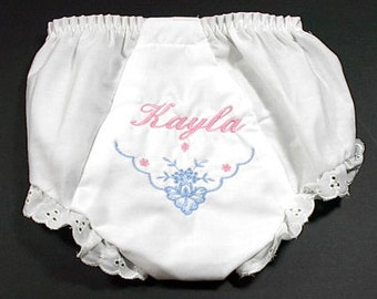 Elegant Floral Personalized Baby Bloomers/Diaper Covers