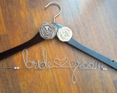 Personalized wedding Hanger, Brides Hanger, Bride, Name Hanger, Wedding Hanger, Personalized Bridal Giftwith Rosette