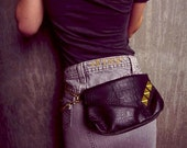 Studded Fanny Pack Black Alligator Skin with Big Gold Studs,Chain wallet, Festival Bag, Marion Max