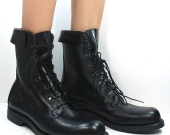 Vintage grunge granny COMBAT army boot mens womens militarty oil proof black oxford pixie lace up mens 8.5 D M womens 10 M B
