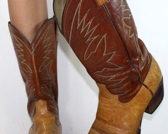 Vintage brown tan heel cowboy mid calf mens Leather fashion western boots 10.5 D