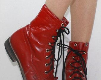Vintage grunge granny combat barn boot riding red cowboy pixie lace up womens 7 M B AUS 5.5 UK 4.5 EUR 37.5