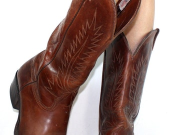 Vintage Nocona cowboy brown low heel mid calf western womens Leather boots womens 11.5 B M mens 10 D Mens