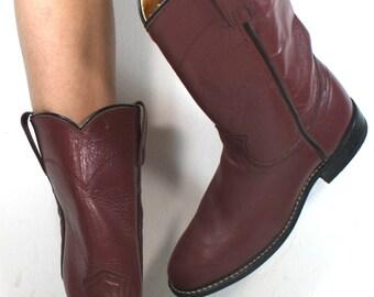Vintage acme Roper cowboy mid calf womens maroon cow boy cow girl Leather western fashion boots 5.5 B M