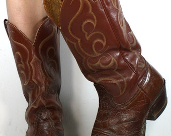 Vintage brown nacona heel cowboy mid calf mens Leather fashion western boots 10.5 M B womens 9 D mens