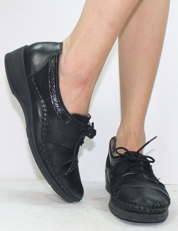 Vintage grunge granny barn boot womens black oxford pixie lace up woven 8.5 M B AUS 7 UK 6 EUR 39