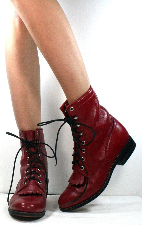 Vintage grunge granny COMBAT barn boot riding RED cowboy pixie