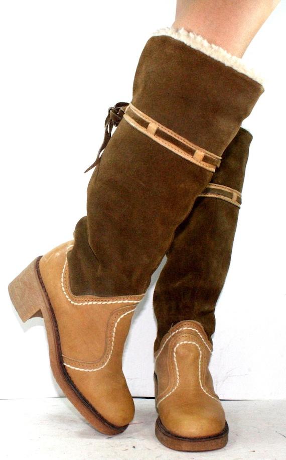vintage womens boots eskimo mid calf knee high winter