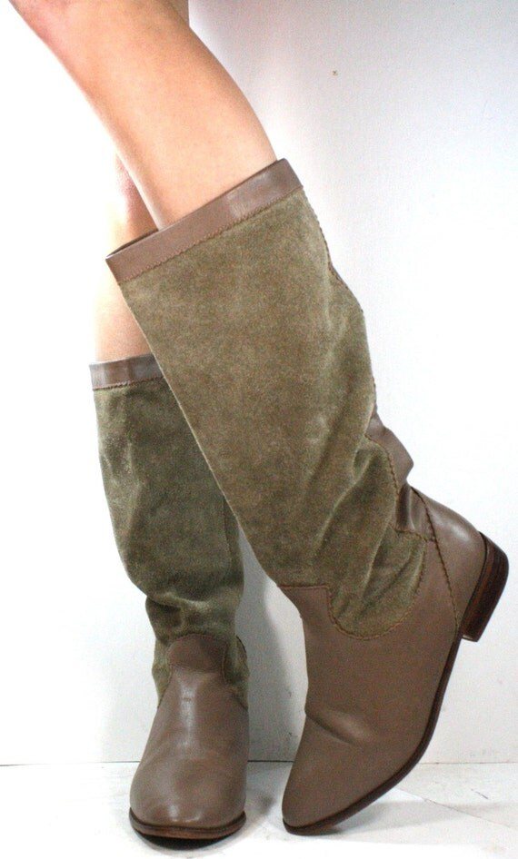 Vintage supple leather riding mid calf tall knee high pirate women flats flat heel suede tan Leather fashion boots 7.5 B M