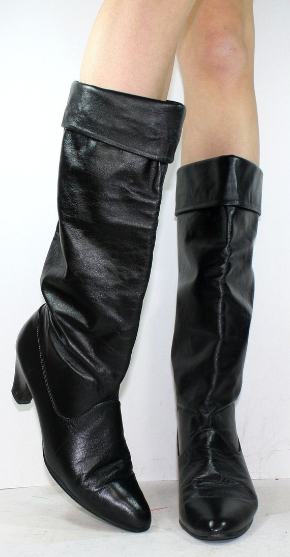 Vintage black riding knee high tall womens Leather high heel fashion boots 9 N A