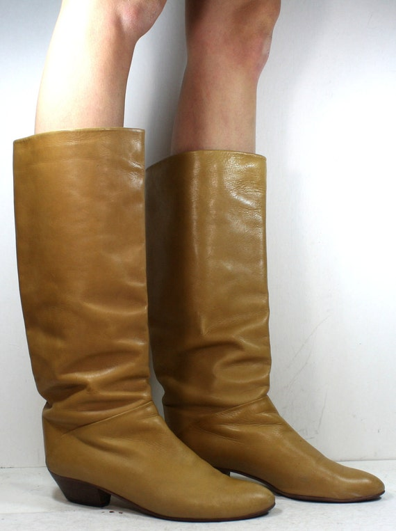 Vintage riding flats women brown tan camel tall knee high Leather fashion campus italy boots 7 M B