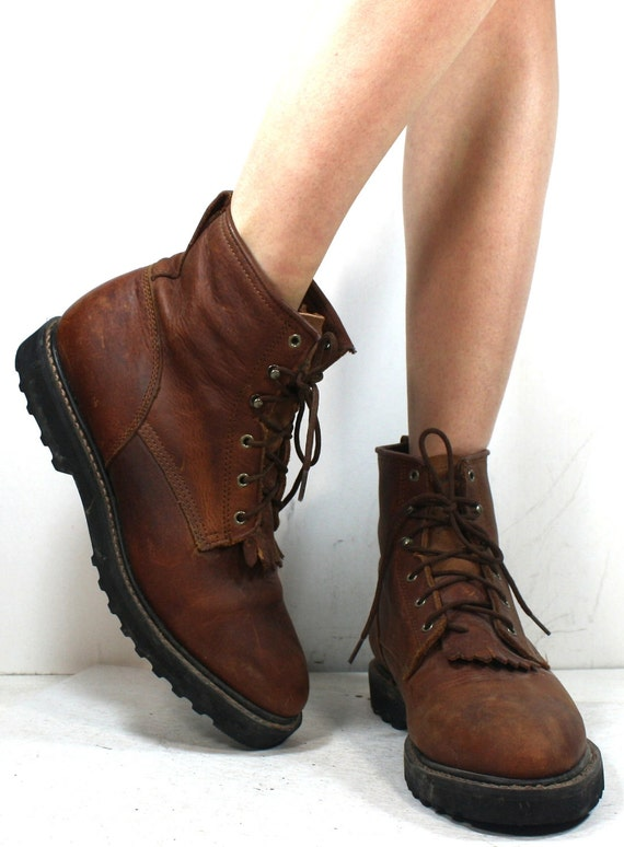 Vintage grunge granny COMBAT barn boot riding brown H and H cowboy pixie lace up womens 10 M B