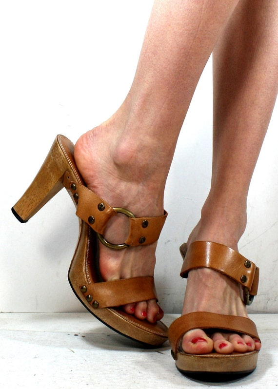 Vintage frye high heels shoes genuine leather strappy pumps sandals womens brown tan 8.5 M B