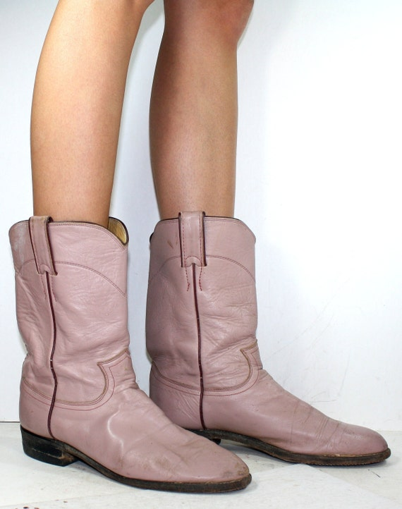 Vintage Justin Roper cowboy mid calf womens pink cow boy cow girl Leather western fashion boots 7.5 B M