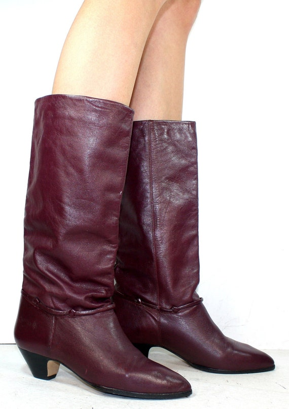 Vintage Maroon Red burgundy riding high low heel mid calf women Leather fashion boots 5.5 M B