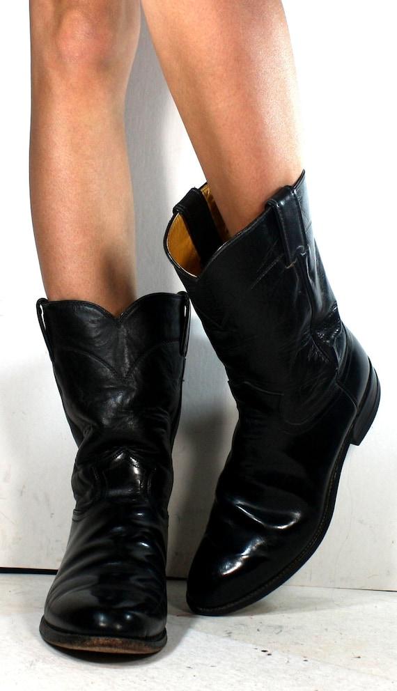 Vintage Justin Roper black cowboy mid calf womens cow boy cow girl Leather western fashion boots 9.5 B M