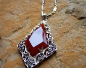 SOLD Art Deco Necklace Antique Carnelian Marcasite Pendant Sterling Silver Unique Chain Vintage Made in Germany