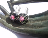Silver plated leverback earrings with vintage black flower cabochon