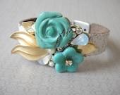 Turquoise wedding bracelet - bridal vintage flower - wrist corsage leather cuff - bridesmaids gift