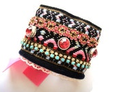 Bohemian hippie bracelet - Ethnic inspired vintage trim cuff in black and hot pink - rhinestones and studs - ultra wide