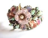 Wedding bracelet - bridal bracelet in shabby chic vintage collage style - pastel cuff bracelet - rhinestone cuff  - wedding jewelry
