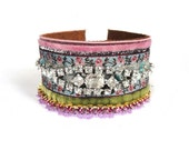 Rhinestone cuff bracelet in pink blue and green - velvet and ribbons with a sparkling vintage rhinestone bracelet upon a leather cuff