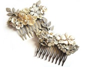 Bridal Hair comb - Wedding jewelry - Shabby chic vintage collage in white with crystal rhinestones - Bridesmaids gift - Wedding head piece