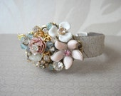 Bridal bracelet Shabby Chic vintage flowers in dusty pastels - bridesmaids gift - wedding jewelry