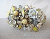 RESERVED - Custom listing for someone special - Bridal cuff bracelet in yellow - grey and white