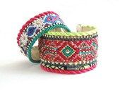 Neon friendship bracelet cuff with chrystal cupchains and twisted silk cord - encrusted Swarovski - hot pink lime green and emerald