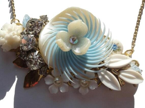 RESERVED For Diane - Something blue vintage collage necklace