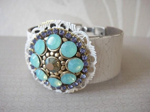 Leather bracelet Swarovski rhinestones - sparkling statement cuff