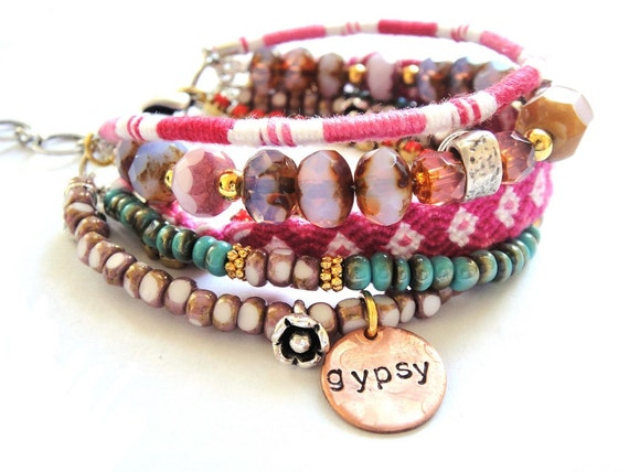 Bohemian hippie bracelet with friendship bracelets and glass beads in the colours of your choice - MADE TO ORDER