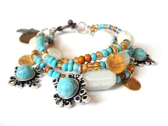 Bohemian hippie bracelet Turquoise and honey beaded multiple strands with turquoise matrix cabochons, handstamped tag and hamsa hand