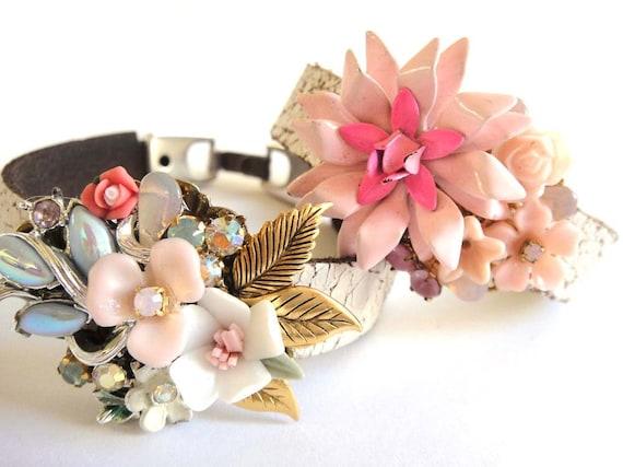 Pink wedding bracelet - repurposed shabby chic vintage collage - romantic bridal jewelry