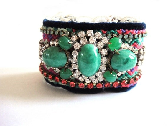 SALE - 30% OFF with coupon code JUNE2012 - Bohemian hippie cuff bracelet - rhinestone friendship bracelet - vintage husar