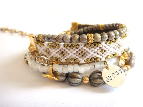 Bohemian hippie bracelet - beaded multiple rows - friendship bracelet and Swarovski rhinestones - gypsy style - nude colour tones