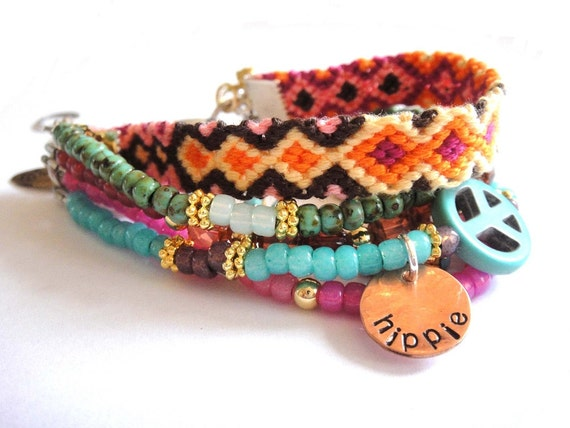Bohemian hippie bracelet - beads rhinestones and friendship bracelet in turquoise hot pink and orange - gypsy style - indian summer