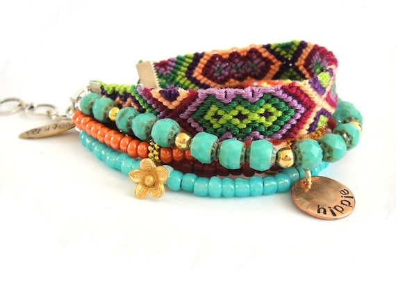 Bohemian gypsy bracelet in turquoise and tangerine - hippie style friendship bracelet with beads and rhinestones