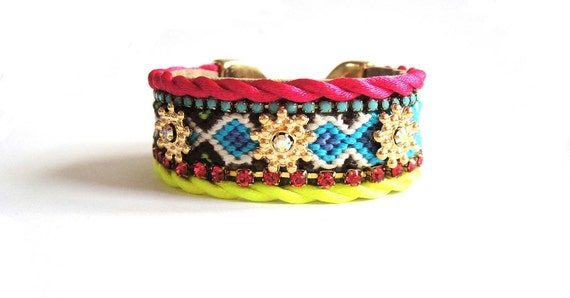 Neon friendship bracelet cuff - bohemian hippie style in hot pink yellow green and turquoise