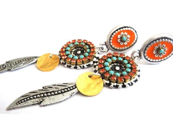 Bohemian hippie long post earrings in turquoise and orange - Swarovski rhinestones and enamel - gypsy style