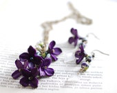 Purple lilac long chain necklace pendant and earrings
