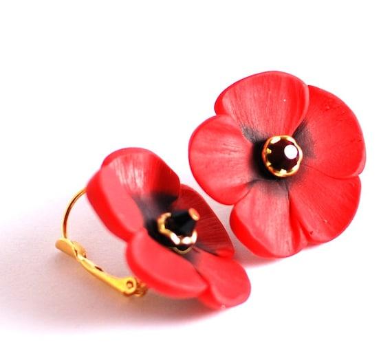Flower earrings - Red poppy leaver back gold plate